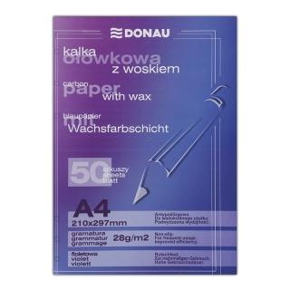 Kalka ołówkowa DONAU z woskiem, A4, 50szt., fioletowa, Kalki, Papier i etykiety