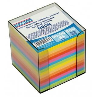 Kostka DONAU nieklejona, w pudełku, 95x95x95mm, ok. 800 kart., neon, mix kolorów, Kostki, Papier i etykiety