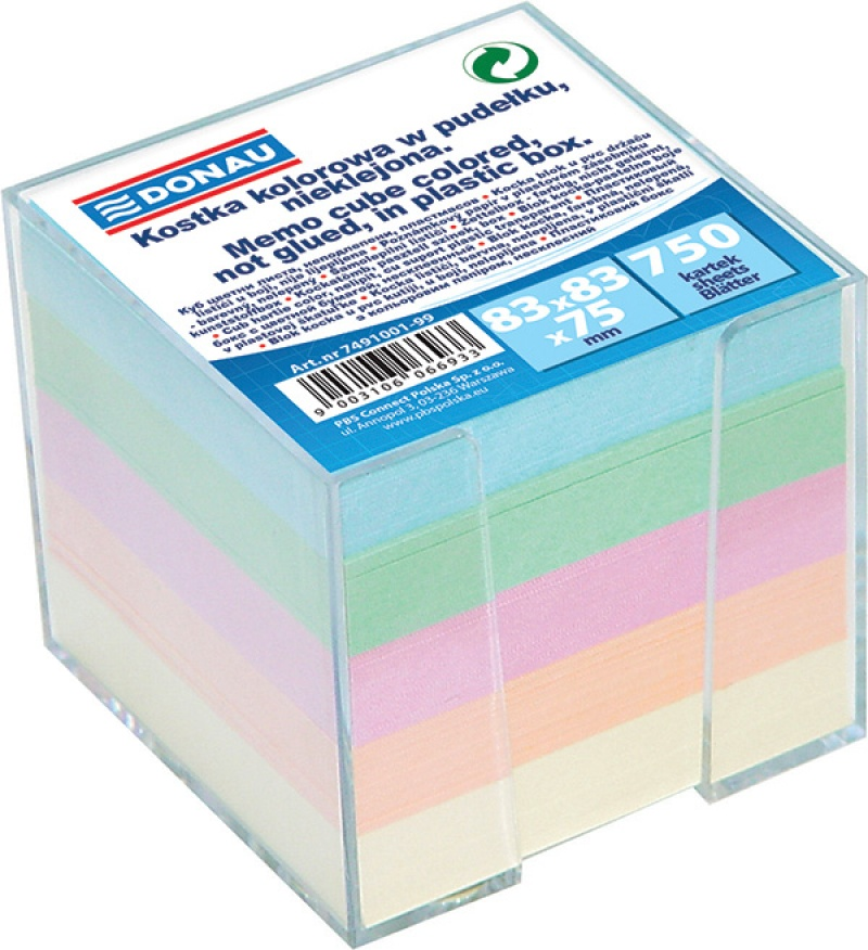 Note Cube Cards DONAU, in a box, 95x95x95mm, assorted colours