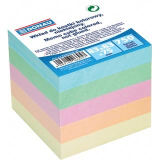Kostka DONAU nieklejona, 83x83x75mm, mix kolorów, Kostki, Papier i etykiety