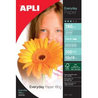 Papier fotograficzny APLI Everyday Photo Paper, 10x15cm, 180gsm, błyszczący, 100ark., Papiery specjalne, Papier i etykiety