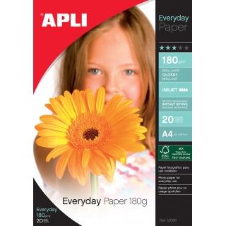 Papier fotograficzny APLI Everyday Photo Paper, A4, 180gsm, błyszczący, 20ark., Papiery specjalne, Papier i etykiety