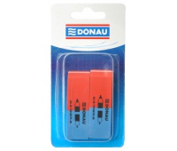 Multipurpose Eraser DONAU, 57x19x8mm, blister pack - 2pcs, blue-red