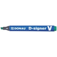 Marker permanentny DONAU D-Signer V, ścięty, 1-4mm (linia), zielony, Markery, Artykuły do pisania i korygowania