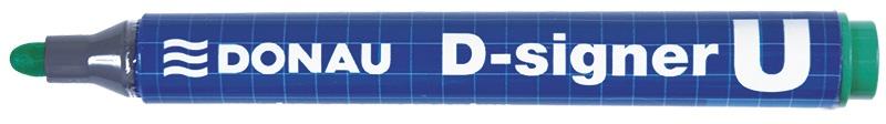 Marker permanentny DONAU D-Signer U, okrągły, 2-4mm (linia), zielony, Markery, Artykuły do pisania i korygowania
