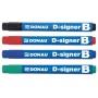 Marker do tablic DONAU D-Signer B, okrągły, 2-4mm (linia), zielony, Markery, Artykuły do pisania i korygowania