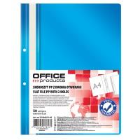 Skoroszyt OFFICE PRODUCTS, PP, A4, 2 otwory, 100/170mikr., wpinany, niebieski, Skoroszyty podstawowe, Archiwizacja dokumentów