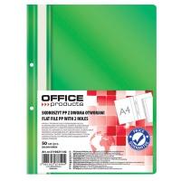 Skoroszyt OFFICE PRODUCTS, PP, A4, 2 otwory, 100/170mikr., wpinany, zielony, Skoroszyty podstawowe, Archiwizacja dokumentów