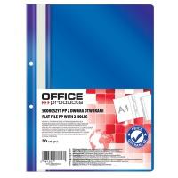 Skoroszyt OFFICE PRODUCTS, PP, A4, 2 otwory, 100/170mikr., wpinany, granatowy, Skoroszyty podstawowe, Archiwizacja dokumentów