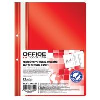 Skoroszyt OFFICE PRODUCTS, PP, A4, 2 otwory, 100/170mikr., wpinany, czerwony, Skoroszyty podstawowe, Archiwizacja dokumentów