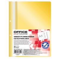 Skoroszyt OFFICE PRODUCTS, PP, A4, 2 otwory, 100/170mikr., wpinany, żółty, Skoroszyty podstawowe, Archiwizacja dokumentów