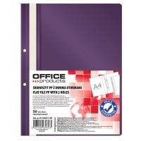 Skoroszyt OFFICE PRODUCTS, PP, A4, 2 otwory, 100/170mikr., wpinany, fioletowy, Skoroszyty podstawowe, Archiwizacja dokumentów