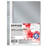 Skoroszyt OFFICE PRODUCTS, PP, A4, 2 otwory, 100/170mikr., wpinany, szary, Skoroszyty podstawowe, Archiwizacja dokumentów