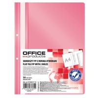 Skoroszyt OFFICE PRODUCTS, PP, A4, 2 otwory, 100/170mikr., wpinany, różowy, Skoroszyty podstawowe, Archiwizacja dokumentów