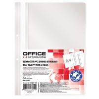 Skoroszyt OFFICE PRODUCTS, PP, A4, 2 otwory, 100/170mikr., wpinany, biały, Skoroszyty podstawowe, Archiwizacja dokumentów