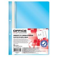 Skoroszyt OFFICE PRODUCTS, PP, A4, 2 otwory, 100/170mikr., wpinany, jasnoniebieski, Skoroszyty podstawowe, Archiwizacja dokumentów
