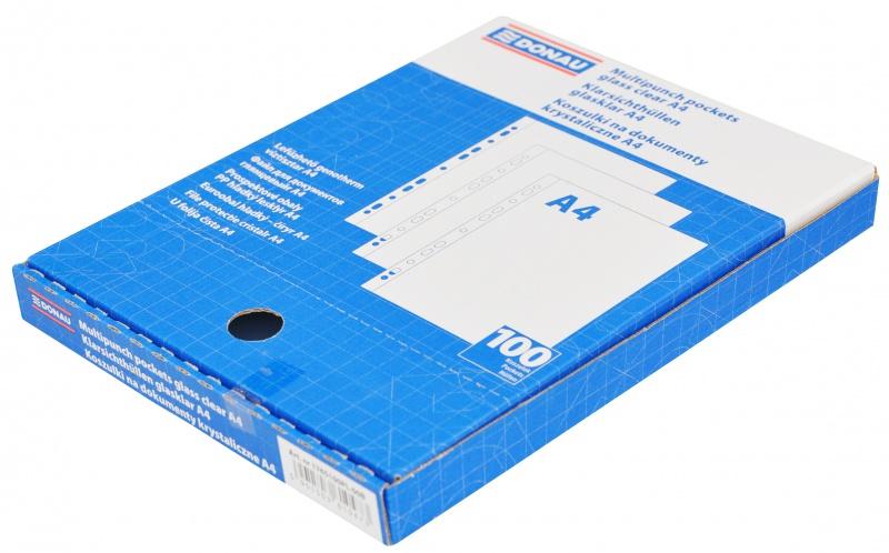 Koszulki na dokumenty DONAU, PP, A4, krystal, 45mikr., 100szt., w pudełku, Koszulki i obwoluty, Archiwizacja dokumentów