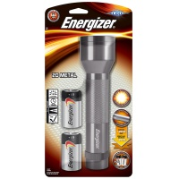 Latarka ENERGIZER Metal + 2szt. baterii D, srebrna, Latarki, Urządzenia i maszyny biurowe