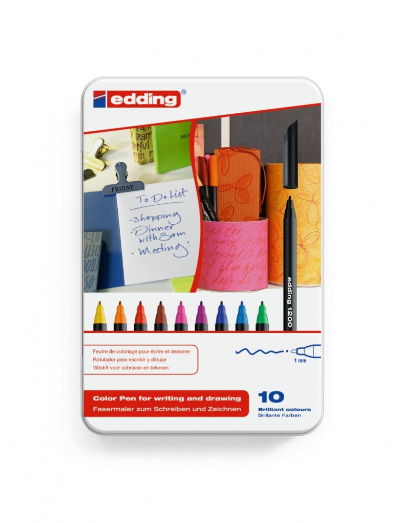 PISAKI EDDING ARTYSTYCZNE 10 KOL. 0,5-1MM OPAKOWANIE METALOWE, Markery specjalistyczne, Artykuły do pisania i korygowania