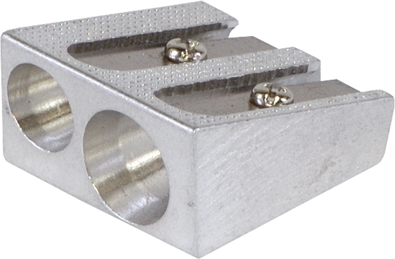 Pencil Sharpener DONAU, aluminium, double hole, silver