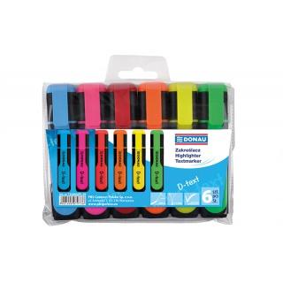 Zakreślacz fluorescencyjny DONAU D-Text, 1-5mm (linia), 6szt., mix kolorów, Textmarkery, Artykuły do pisania i korygowania
