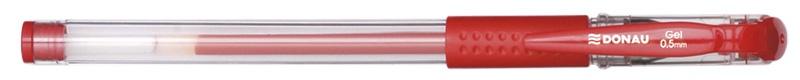 Długopis żelowy DONAU z wodoodpornym tuszem 0,5mm, czerwony