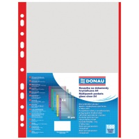 Punched Pockets DONAU, PP, A4, orange peel, 40 micron, coloured spine feature, red, 100pcs