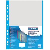 Punched Pockets DONAU, PP, A4, orange peel, 40 micron, coloured spine feature, blue, 100pcs