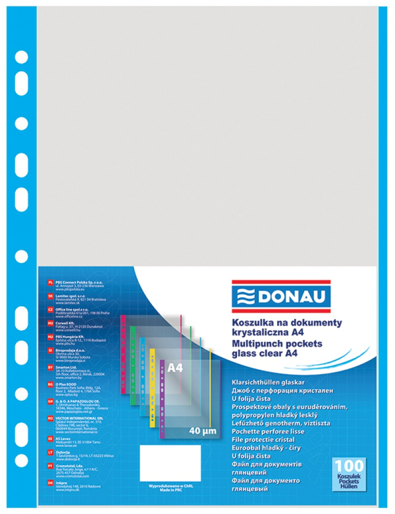 Punched Pockets DONAU, PP, A4, orange peel, 40 micron, coloured spine feature, blue, 100pcs