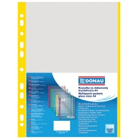 Punched Pockets DONAU, PP, A4, orange peel, 40 micron, coloured spine feature, yellow, 100pcs