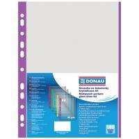 Punched Pockets DONAU, PP, A4, orange peel, 40 micron, coloured spine feature, purple, 100pcs