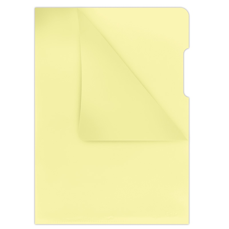 L-Shaped Pockets DONAU, type L, PP, A4, cristal, 180 micron, yellow