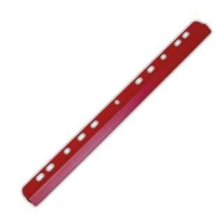 Listwa zaciskająca DONAU, PVC, A4, 6mm, do 60 kartek, z europerforacją, czerwona, Listwy zaciskające i samoprzylepne, Archiwizacja dokumentów