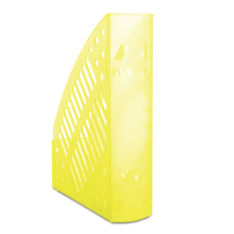 Mesh Magazine File Rack DONAU, polystyrene, A4, transparent yellow