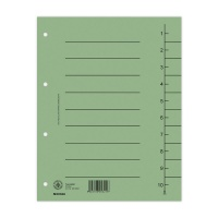 Dividers cardboard A4 235x300mm 1-10 10 sheets green