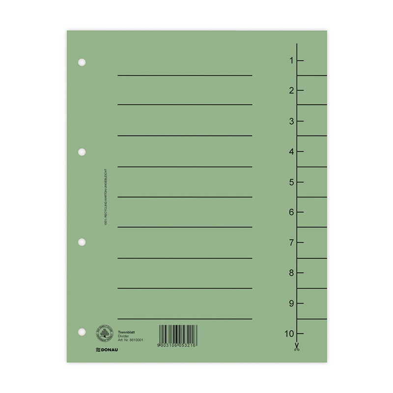Dividers DONAU, cardboard, A4, 235x300mm, 1-10, 10 sheets, green