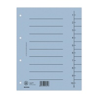 Dividers cardboard A4 235x300mm 1-10 10 sheets blue