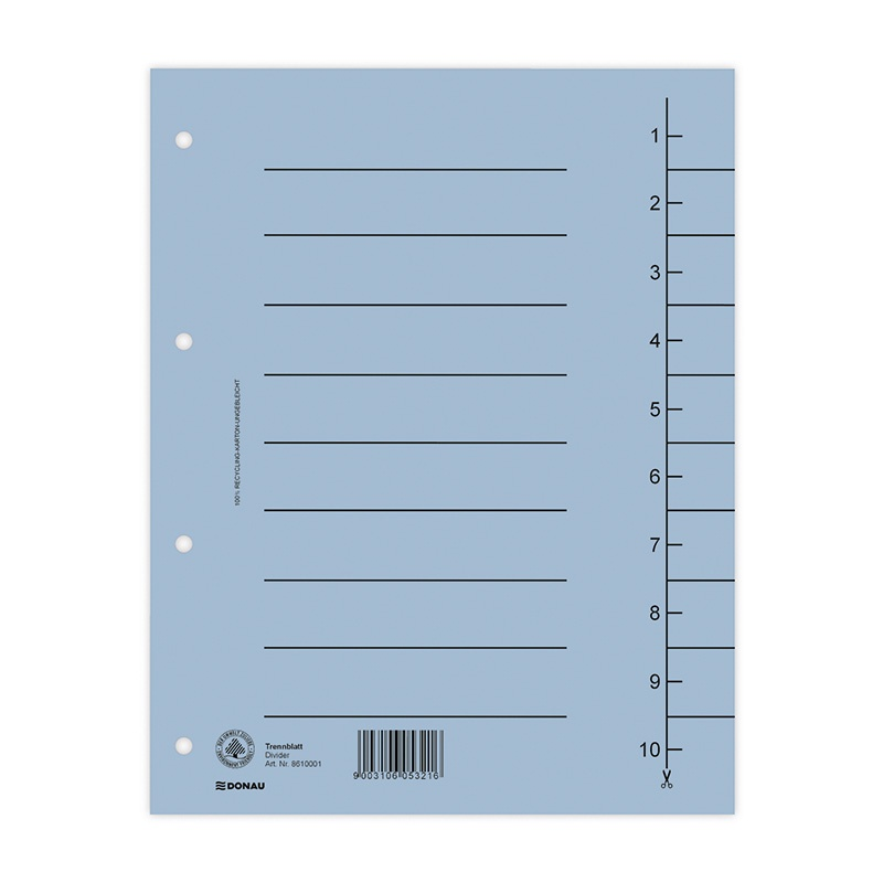 Dividers DONAU, cardboard, A4, 235x300mm, 1-10, 10 sheets, blue