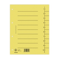 Dividers cardboard A4 235x300mm 1-10 10 sheets yellow