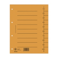 Dividers cardboard A4 235x300mm 1-10 10 sheets orange