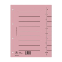 Dividers cardboard A4 235x300mm 1-10 10 sheets light pink