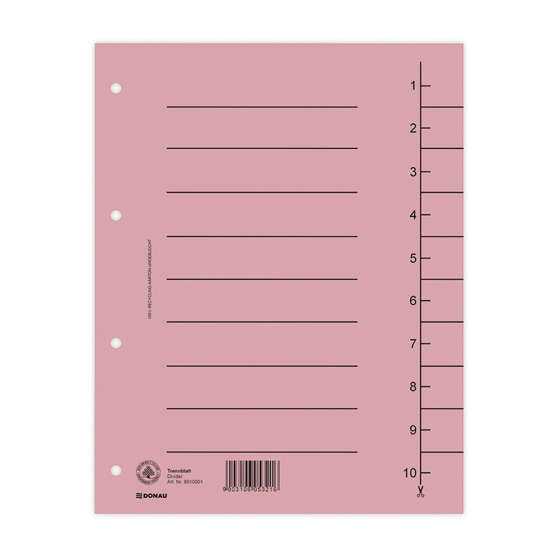 Dividers DONAU, cardboard, A4, 235x300mm, 1-10, 10 sheets, light pink