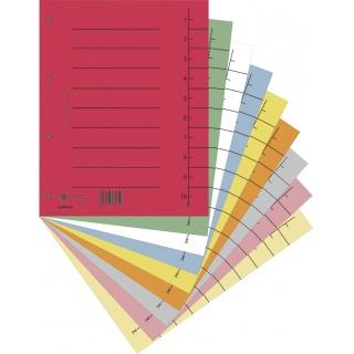 Przekładka DONAU, karton, A4, 235x300mm, 1-10, 1 karta, mix kolorów, Przekładki kartonowe, Archiwizacja dokumentów