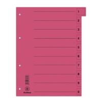Przekładka DONAU, karton, A4, 235x300mm, 0-9, 1 karta z perforacją, czerwona, Przekładki kartonowe, Archiwizacja dokumentów