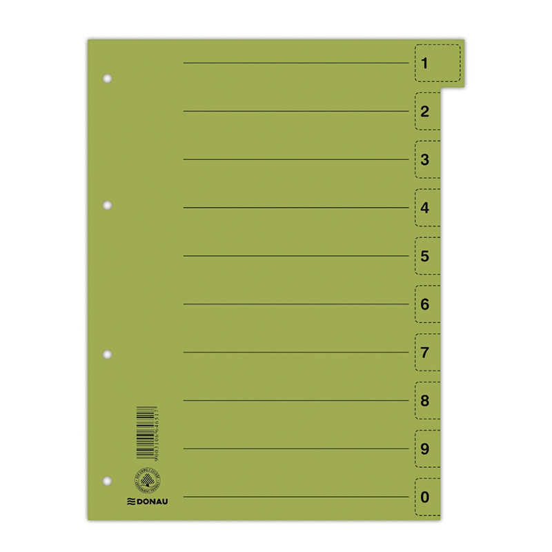 Dividers DONAU, cardboard, 1/3 A4, 235x300mm, 0-9, 10 multipunched sheets, green