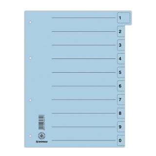 Przekładka DONAU, karton, A4, 235x300mm, 0-9, 1 karta z perforacją, niebieska, Przekładki kartonowe, Archiwizacja dokumentów