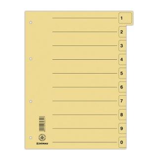 Przekładka DONAU, karton, A4, 235x300mm, 0-9, 1 karta z perforacją, żółta, Przekładki kartonowe, Archiwizacja dokumentów