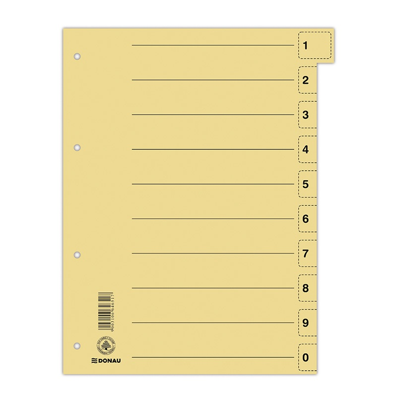 Dividers DONAU, cardboard, 1/3 A4, 235x300mm, 0-9, 10 multipunched sheets, yellow