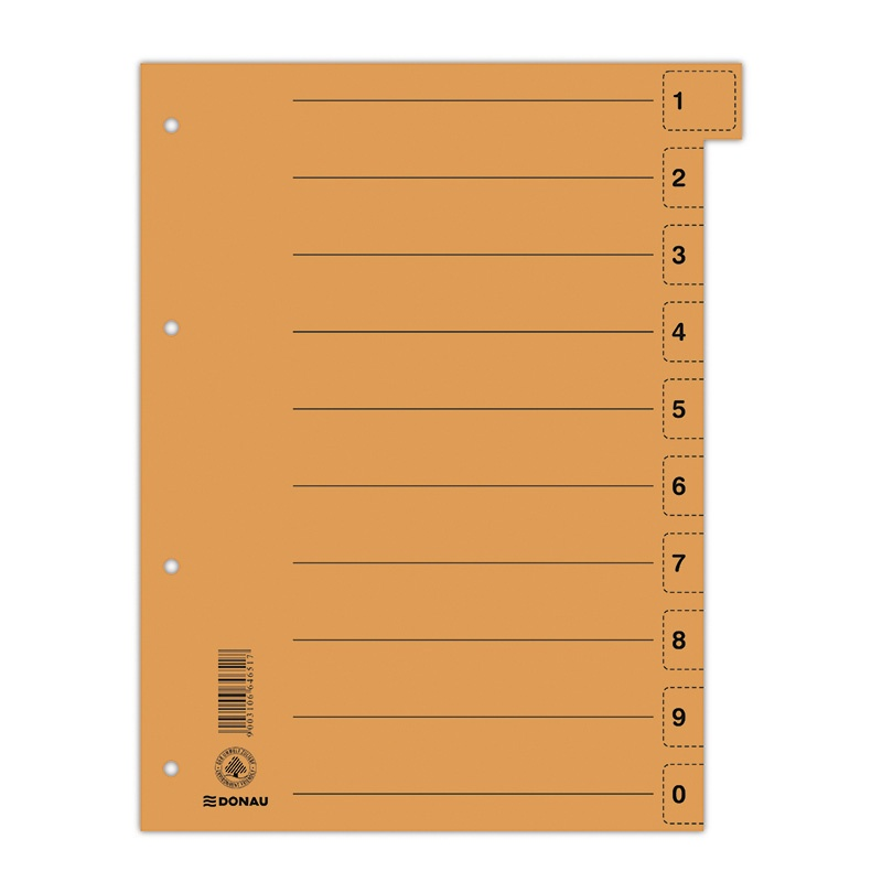 Dividers DONAU, cardboard, 1/3 A4, 235x300mm, 0-9, 10 multipunched sheets, orange