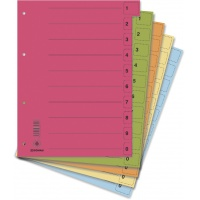 Dividers cardboard 1/3 A4 235x300mm 0-9 10 multipunched sheets 50pcs assorted colours